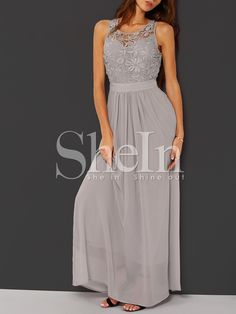 Shop Grey Sleeveless Crochet Lace Maxi Dress online. SheIn offers Grey Sleeveless Crochet Lace Maxi Dress & more to fit your fashionable needs.
