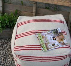 DIY floor poufs from ikea rugs