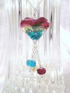 "Artisan Created ""Sunset Over the Caribbean"" -Lampwork Glass Necklace - Swarovski Crystal, Sterling Silver, Handmade, Unique, OOAK, SRAJD"