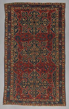 Star Ushak Carpet  Object Name:     Carpet Date:     16th–17th century Geography:     Turkey Medium:     Wool (warp, weft and pile); symmetrically knotted pile Dimensions:     Rug: L. 108 in. (274.3 cm) W. 65 5/8 in. (166.7 cm) Classification:     Textiles-Rugs