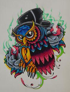 old school owl tattoo designs | Jeremy Miller Tattoos, Austin, Texas
