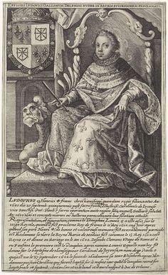 Crispijn van de Passe (I) | Portret van Lodewijk XIII, Crispijn van de Passe (I), in or after 1610 - 1637 | Portret van Lodewijk XIII, koning van Frankrijk. Hij zit op een troon en draagt een Ordeketting van de Orde van de Heilige Geest. Linksboven het wapenschild van de geportretteerde. In de marge een vierregelig onderschrift in het Latijn en een tienregelig onderschrift in het Frans over het leven van de prins tot aan het moment dat hij op 15 mei 1610, na de moord op zijn vader, tot…