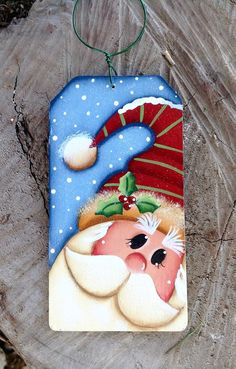 NEW 2016 Merry Merry Santa Ornament por CountryCharmers en Etsy Más Christmas Wood Crafts, Christmas Rock, Christmas Gift Tags, Christmas Signs, Christmas Projects, Holiday Crafts, Christmas Snowman, Santa Paintings, Christmas Paintings On Canvas