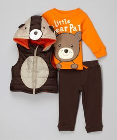 Another great find on #zulily! Brown Bear Hooded Vest Set - Infant #zulilyfinds