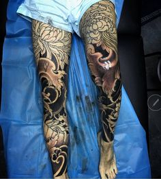 Japanese Tattoo Samurai, Samurai Tattoo, Foot Tattoos, Body Art Tattoos, Japanese Legs, Leg Sleeve Tattoo, Asian Tattoos, Japan Tattoo, Leg Sleeves