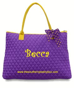 PERSONALIZED QUILTED BAGS, TOTES AND LUGGAGE SETS - Purple and Yellow - CLICK TO SEE SELECTION