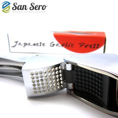 San Sero Chef Quality Stainless Steel Garlic Press - Self Cleaning and Easy to Squeeze with Large Garlic Chamber Clean Dishwasher, Japanese Design, Garlic Press, Different Recipes, Kitchen Dining, Ships, Construction, Stainless Steel, San