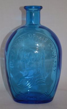 Vintage Wheaton Bottle Blue Glass George Washington Father of His Country #Wheaton