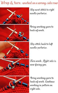 working a wrap & turn (W&T) on a wrong-side row #knitting