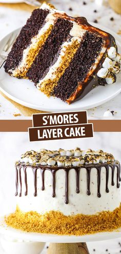 This S'mores Cake is an amazing combination of moist chocolate cake, toasted marshmallow buttercream, graham cracker crunchies and chocolate ganache! #smores #marshmallows #grahamcrackers #chocolate Baking Recipes, Cake Recipes, Dessert Recipes, Baking Desserts, Marshmallow Buttercream, Toasted Marshmallow, Biscuits Graham, Smores Cake, Brownie
