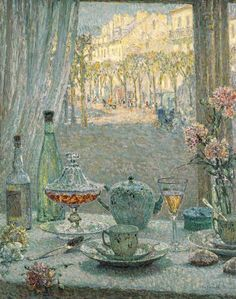 Столик возле окна, отражения 1922 Анри Ле Сиданэ (фр. Henri Eugène Augustin Le Sidaner, 1862 -1939) — французский художник, работавший в различных художественных направлениях (импрессионизм,постимпрессионизм, символизм и др.).