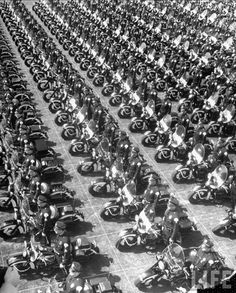 Los Angeles once had the largest motorcycle police force in the world.  According to Life Magazine in March of 1949.. Here they are at the Los Angeles Coliseum -- over 200 of them.