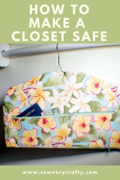 This is a free pattern and tutorial on how to make a portable closet safe that you can store your valuables where no one will be the wiser. With the zipper on the bottom you can remove the hanger and take it on your next trip and hang it among your clothes. It is a secret hanger. #closetsafe #sewingtutorial #sewingproject