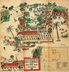 Cícero Dias, 1933 Engenho Noruega (sugar cane mill where the artist was born) Pernambuco, BR Art File, Fashion Art, Bohemian Rug, Modern Art, Vintage World Maps, Illustration, Painting, Magazines, Composition