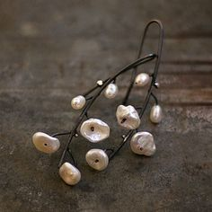 Earrings, made of oxidized sterling silver (925/999) and white pearls Keishi + tiny fresh water pearls. Total length 5.3 cm / 2.1 inches.  *This item is