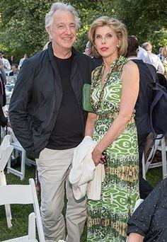 June 9, 2015 -- Alan Rickman and Christine Baranski at the Public Theater's Annual Gala.