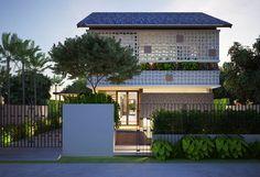 Villa Design, Facade Design, Exterior Design, House Design, Modern Tropical House, Tropical Houses, Facade House, House Roof, Cluster House