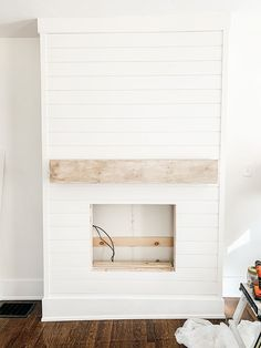 Faux Fireplace Mantels, Diy Mantel, Fireplace Tv Wall, Build A Fireplace, Shiplap Fireplace, Farmhouse Fireplace, Electric Fireplace With Mantle, Off Center Fireplace, Electric Fireplaces