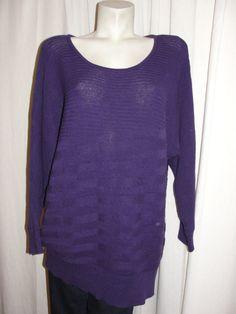 ALFANI Deep Purple Cotton Acrylic Blend Dolman Long Sleeve Sweater Top Sz 2X #Alfani #Tunic
