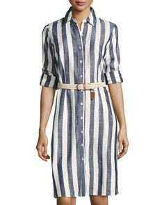 Tanner Striped Shirtdress, Blue/White