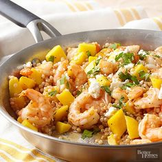 Everything's better with mango! This shrimp-couscous dinner tastes like paradise in every chipotle-coated bite. Queso fresco gives it a cool, creamy finish.   /