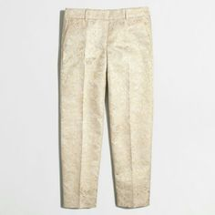 J Crew Cream and gold brocade skimmer pant Look polished through all those April showers. Unworn with spare button tag still attached. Run small. Are a size 8 but better for a size 6 J. Crew Pants Ankle & Cropped