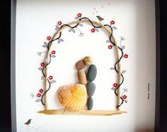 Wedding Gift Pebble Art-Unique Engagement Gift-Personalized Wedding present-Personalized COUPLE Gift- bride and Groom Gift- Pebble Art