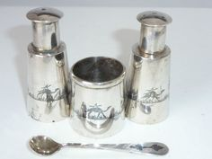 ANTIQUE IRAQ NIELLO SOLID SILVER CRUET SET