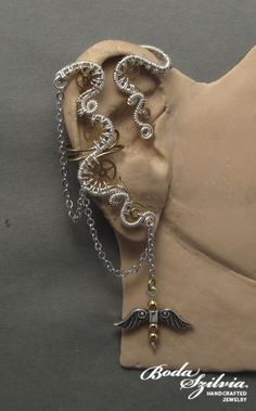 TIMELESS  OOAK  steampunk brass and silver ear wrap by bodaszilvia, $42.00