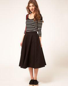 such a versatile skirt #midi #black #asos