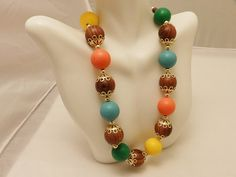 Hong Kong Bright Color Vintage Beads Gold by TheJewelryCabinet