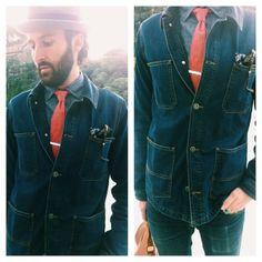 Total denim look from jacket to Reybaud necktie @Varia Curiosa