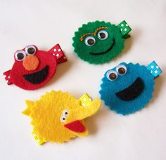 Sesame Street Inspired Felt Hair Clips - Set of 4 - Elmo, Oscar the Grouch, Big Bird and Cookie Monster Inspired Clippies - Special Price. $11.00, via Etsy.