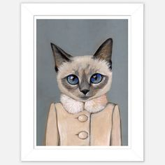Framed Cat Print Violet now featured on Fab.