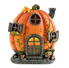 description~ What better use of a pumpkin than to turn it into a home, and this fall pumpkin house is the ideal option for your fairy garden. It is made to depict a large and ripe pumpkin that has a curled stem and some clinging vines, but which h. Large Fairy Garden, Fairy Garden Houses, Pumpkin House, Pumpkin Garden, Clay Fairy House, Backyard Ideas For Small Yards, Halloween Fairy, Iron Plant, Clay Fairies