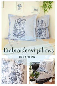 Helen Fir-tree machine embroidery  #helenfirtree #handmade #rucniprace  #idea  #pillows #machineembroidery #embroidery Fir Tree, Machine Embroidery, Needlework, Bed Pillows, Pillow Cases, Sewing, Handmade, Instagram, Home