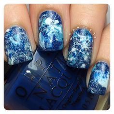 Splatter mani using OPI Keeping Suzi at Bay, Can't Find My Czechbook, and Alpine Snow topped of with China Glaze Fairy Dust. Top coat #glistenandglow #HKGirltopcoat.