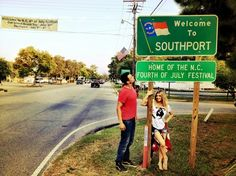 """Actor Josh Duhamel and singer Fergie pose at the entrance to Southport, N.C., where they spent the Fourth of July while he works on the film """"Safe Haven."""""""