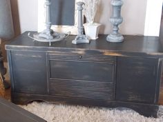1950's cedar chest is chic again in distressed black
