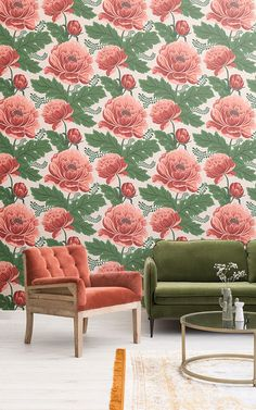 Create an elegant feature wall that exudes a sophisticated style with this light pink and green floral wallpaper. Green Floral Wallpaper, Floral Pattern Wallpaper, Beige Wallpaper, Chic Wallpaper, Room Wallpaper, Wallpaper Murals, Iphone Wallpaper, Green Wall Color, Wall Colors