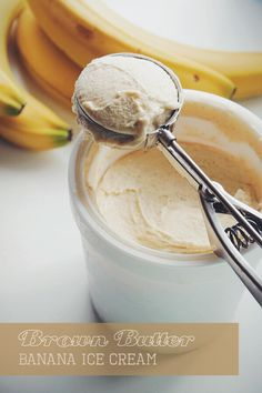 Brown Butter Banana Ice Cream | bloggingoverthyme.com