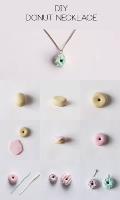 DIY Polymer Clay Donut Necklace✖✖✖✖✖✖✖✖ sew-much-to-do: a visual collection of sewing tutorials/patterns, knitting, diy, crafts, recipes, etc.