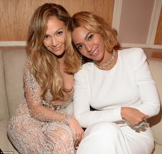 Jennifer Lopez, left, and Beyoncé, right, were spotted at the Vanity Fair Oscars party in Beverly Hills on Sunday
