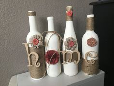 Terrific -> Handmade Home Decor Business Names :-) Glass Bottle Crafts, Wine Bottle Art, Diy Bottle, Bottle Lamps, Glass Bottles, Spray Bottle, Recycled Wine Bottles, Painted Wine Bottles, Decorated Bottles