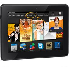 """Kindle Fire HDX 7"""" by Kindle Fire 4.3 out of 5 starsSee all reviews(1,452 customer reviews....http://www.amazon.co.uk/product-reviews/B00CYR6UTM/ref=dp_top_cm_cr_acr_txt?ie=UTF8&showViewpoints=1)  £199.00  Delivered FREE in the UK with Sup..."""