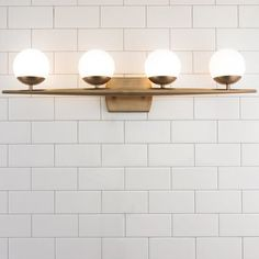 Linear Globe Bath Light - 4 Light Bathroom Lighting Fixtures & Vanity Lighting – Shades of Light White Bathroom, Bathroom Interior, Small Bathroom, Bathroom Shelves, Bathroom Ideas, Bathroom Organization, Bathroom Cabinets, Minimal Bathroom, Bathroom Mirrors