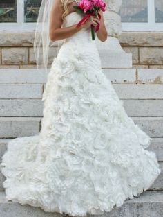 David's Bridal Galina Signature Sv415 - Taffeta Ball Gown With Floral   LOOK AT THE FLOWERS!