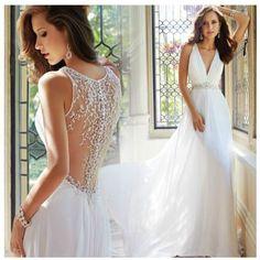 White-Ivory-V-Neck-Beach-Wedding-Dress-Custom-Size-Chiffon-Elegant-Bridal-Gown