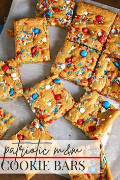 Patriotic M&M's Cookie Bars are the perfect quick and easy treat to serve at all your Memorial Day, 4th of July or any patriotic holiday celebration. Cookie Dough Brownies, Cookie Bars, Chocolate Covered Bananas Frozen, Frozen Banana, Types Of Chocolate, White Chocolate Chips, Baking Flour, Baking Pans, M M Cookies