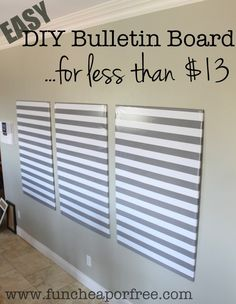 Using Home Depot's Sound Deadening Board, wrapping paper (fabric?) and screws. The bulletin board of all bulletin boards...DIY for less than $12! - Fun Cheap or Free